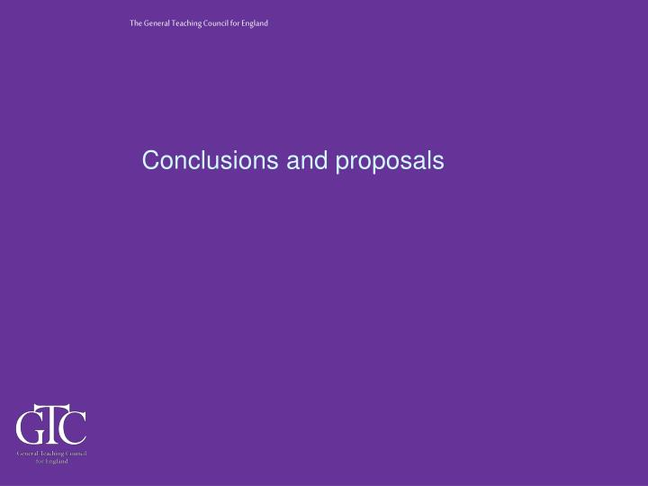Conclusions and proposals