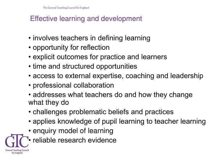 Effective learning and development
