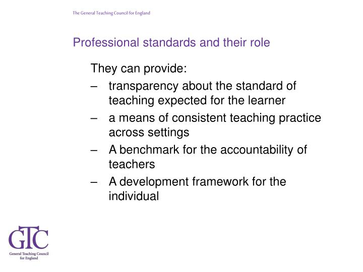 Professional standards and their role