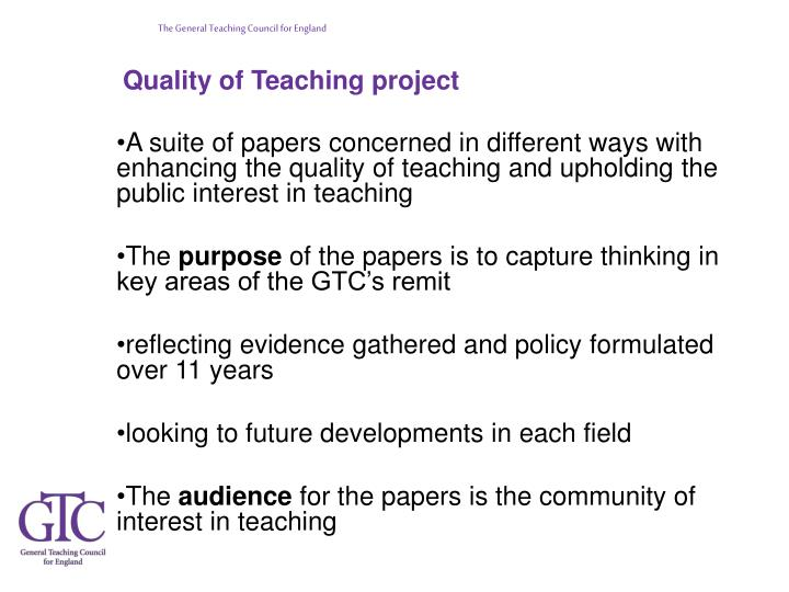 Quality of Teaching project