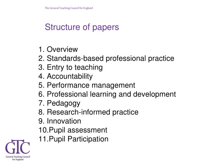 Structure of papers