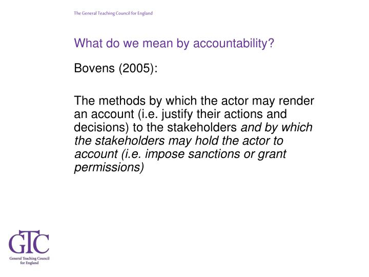 What do we mean by accountability?