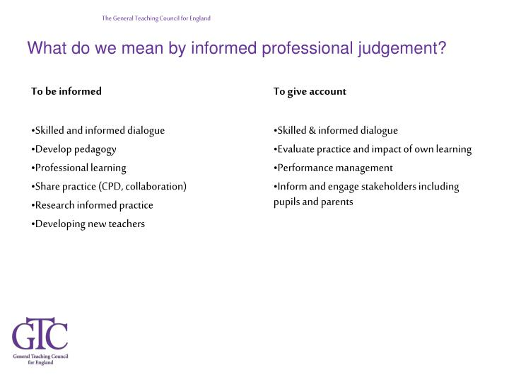 What do we mean by informed professional judgement?