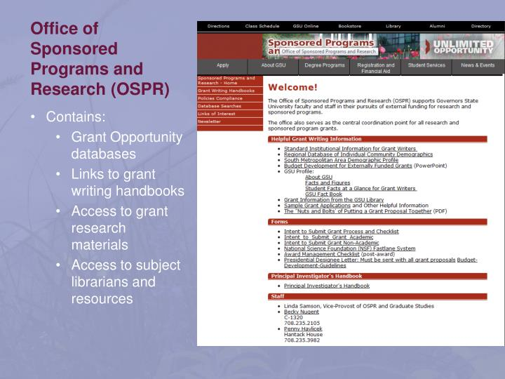 Office of sponsored programs and research ospr