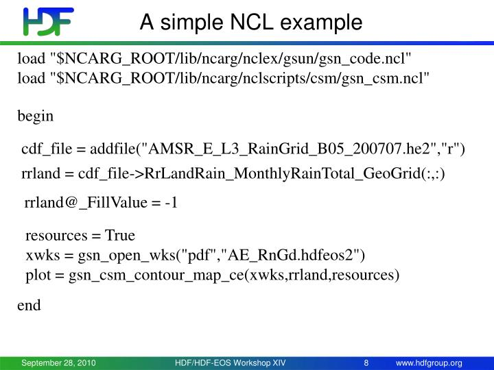 A simple NCL example