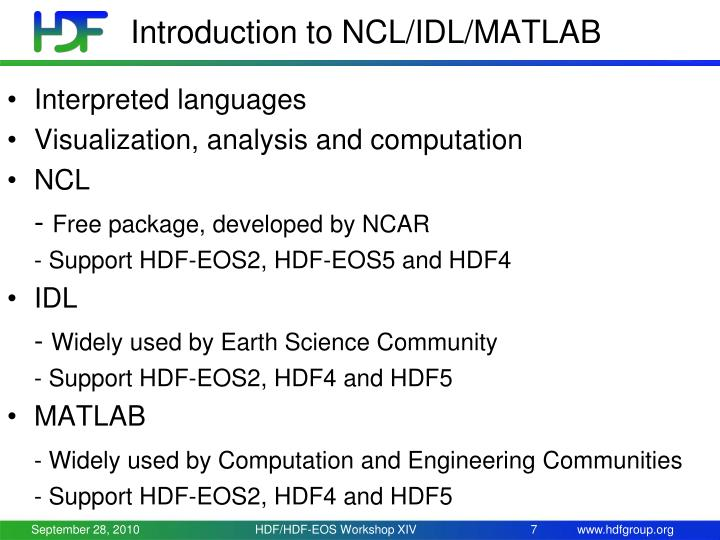 Introduction to NCL/IDL/MATLAB