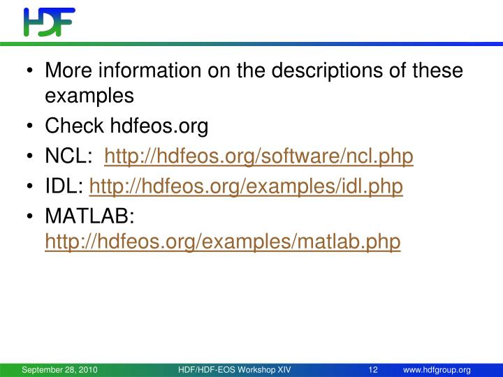 More information on the descriptions of these examples