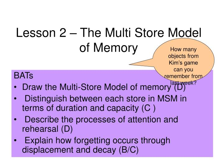 lesson 2 the multi store model of memory n.