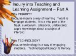 inquiry into teaching and learning assignment part a