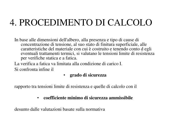 4. PROCEDIMENTO DI CALCOLO