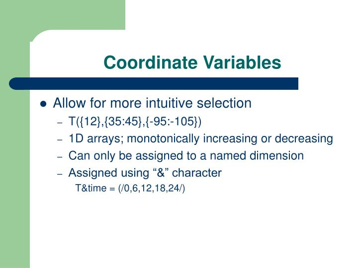Coordinate Variables