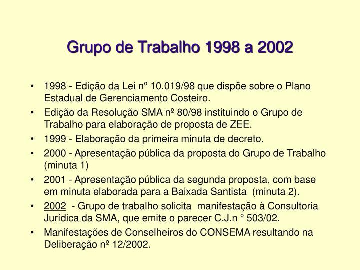 Grupo de Trabalho 1998 a 2002