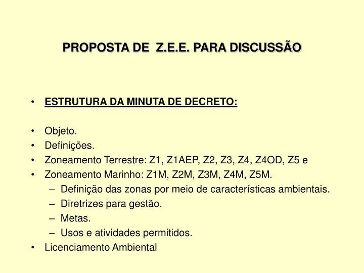 PROPOSTA DE  Z.E.E. PARA DISCUSSÃO