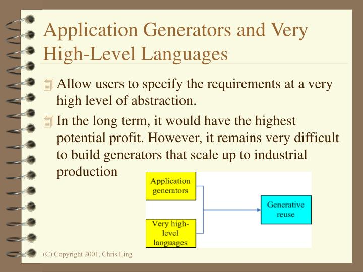 Application Generators and Very High-Level Languages