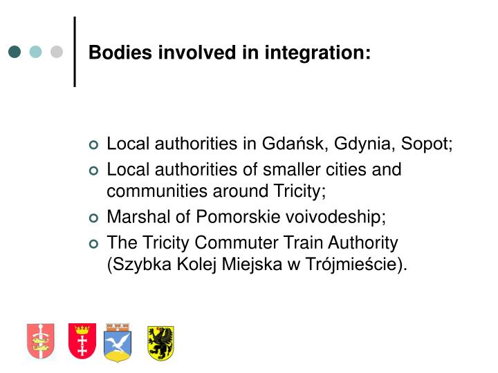Bodies involved in integration: