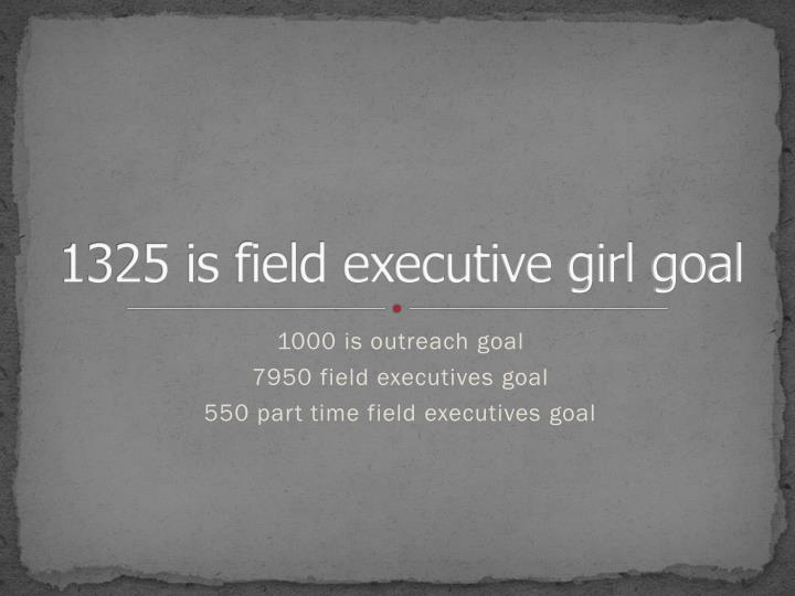1325 is field executive girl goal