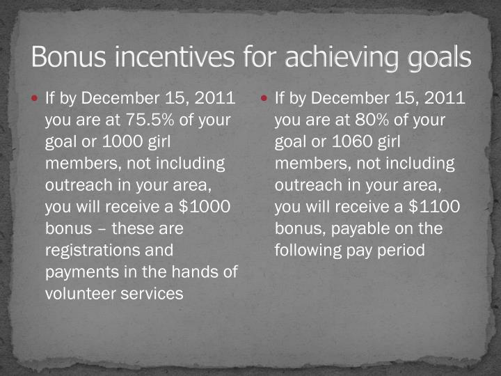 Bonus incentives for achieving goals