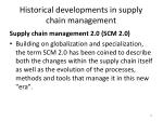 historical developments in supply chain management10