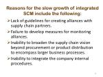 reasons for the slow growth of integrated scm include the following