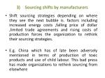 sourcing shifts by manufacturers