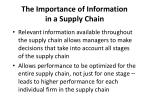 the importance of information in a supply chain