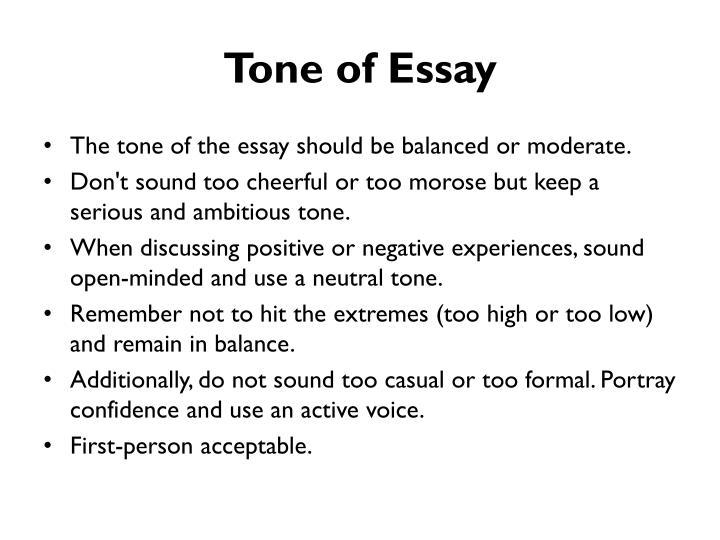 tone of essay