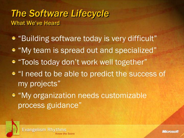 The software lifecycle what we ve heard