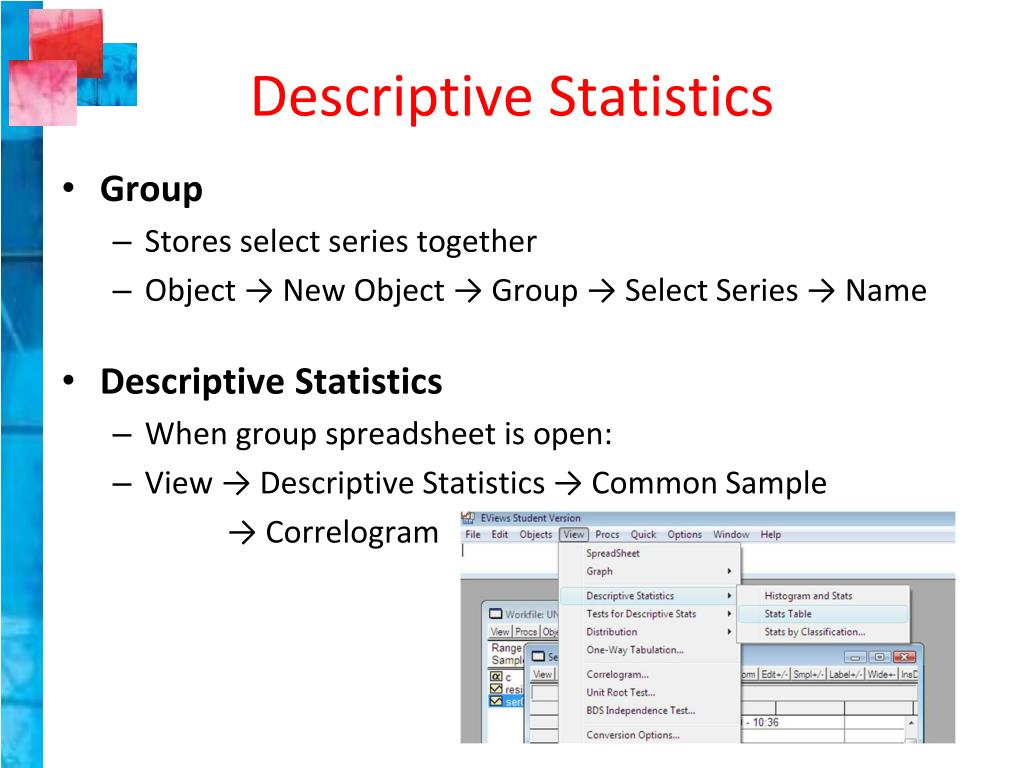 PPT - EViews PowerPoint Presentation - ID:3581702