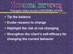therapist tasks during contemplation