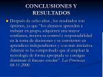 conclusiones y resultados