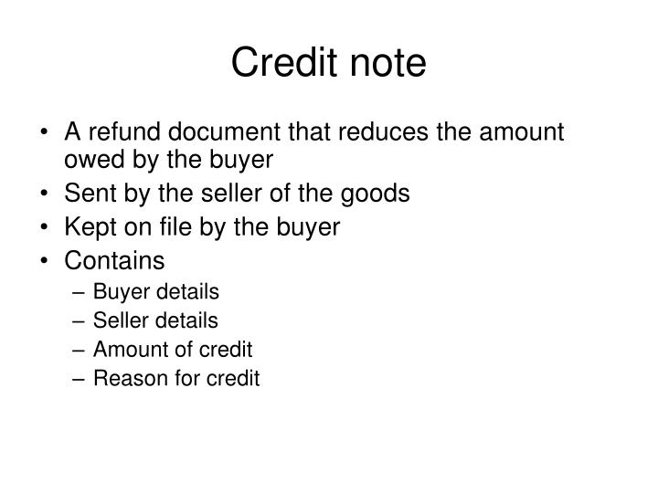 Credit note