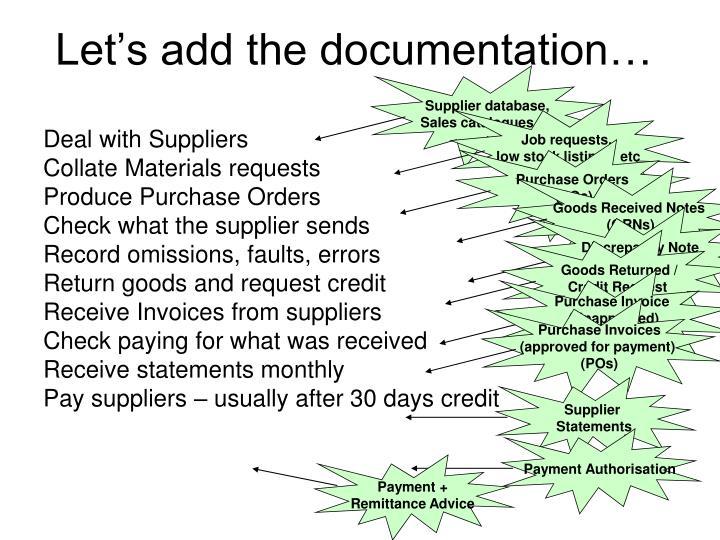 Supplier database,