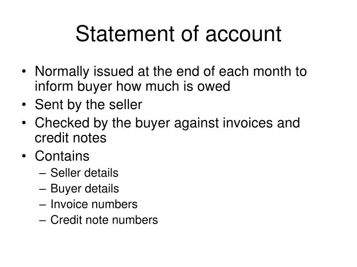 Statement of account