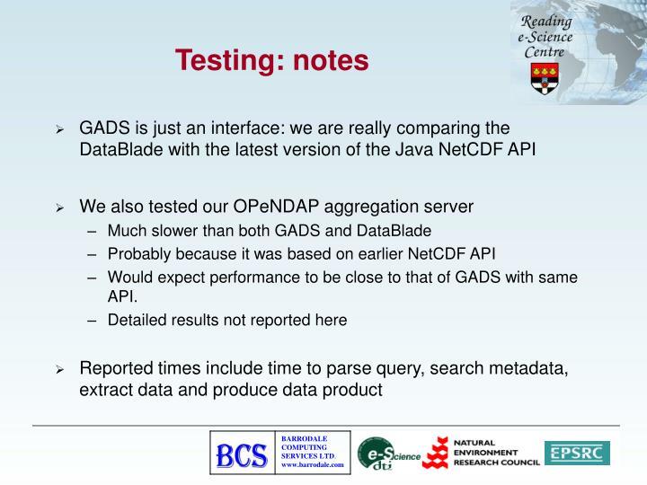 Testing: notes