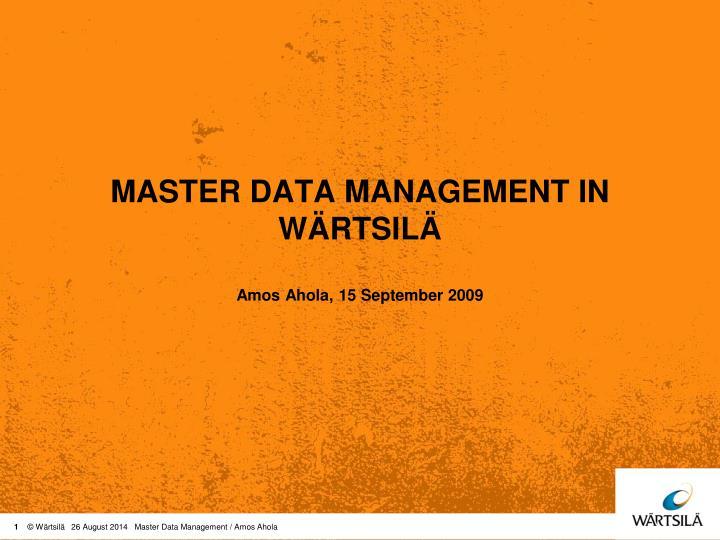 master data management in w rtsil n.