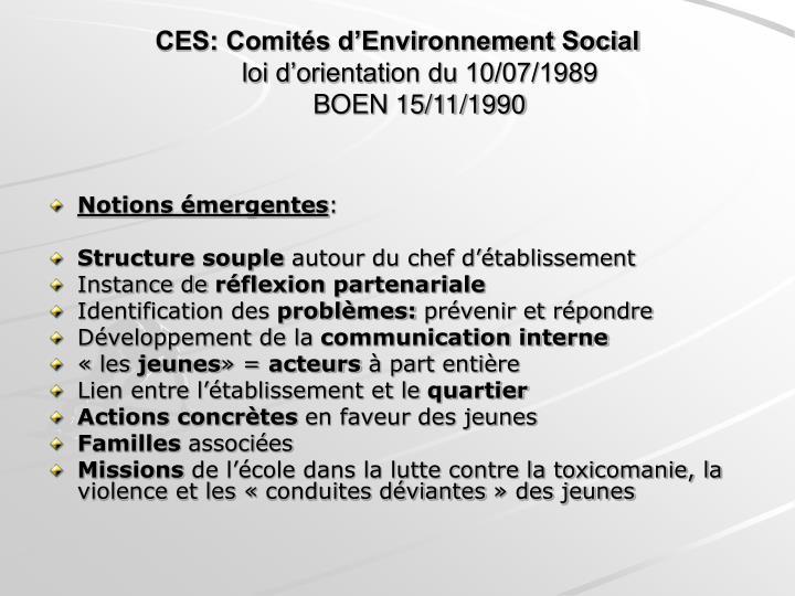 Ces comit s d environnement social loi d orientation du 10 07 1989 boen 15 11 1990
