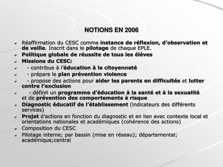 NOTIONS EN 2006