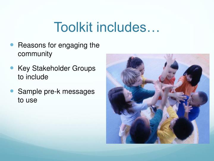 Toolkit includes…