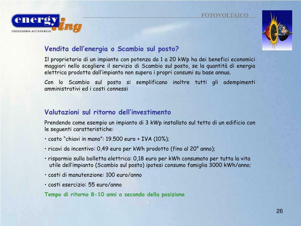 Vendere Energia Elettrica Da Fotovoltaico ppt - fotovoltaico powerpoint presentation, free download
