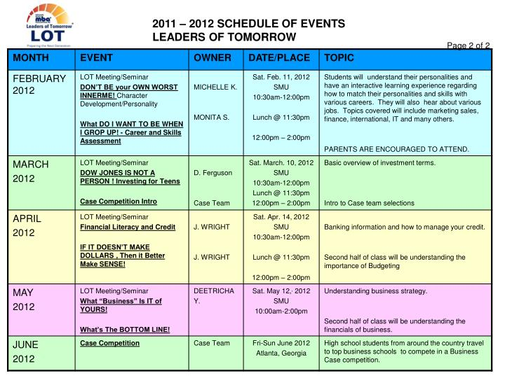 2011 – 2012 SCHEDULE OF EVENTS