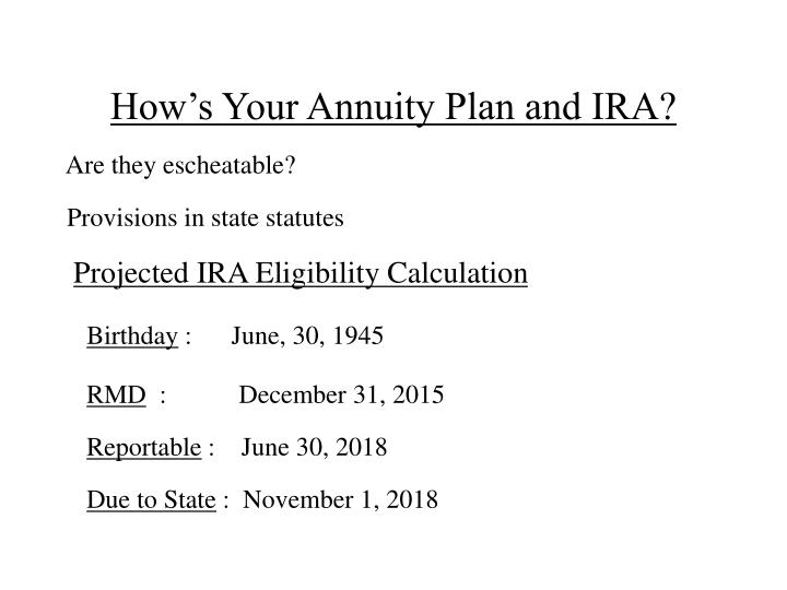How's Your Annuity Plan and IRA?