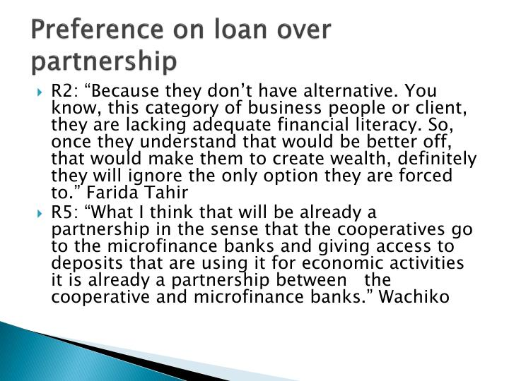 Preference on loan over partnership