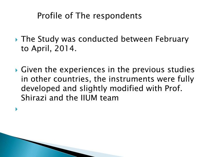 Profile of The respondents