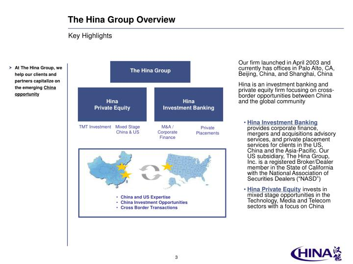 The hina group overview
