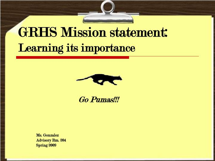 Ppt  Grhs Mission Statement Learning Its Importance Powerpoint