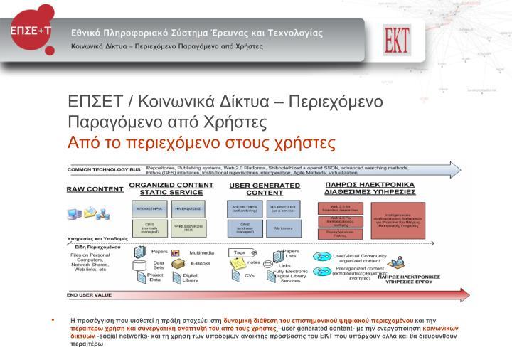 ΕΠΣΕΤ / Κοινωνικά Δίκτυα – Περιεχόμενο Παραγόμενο από Χρήστες