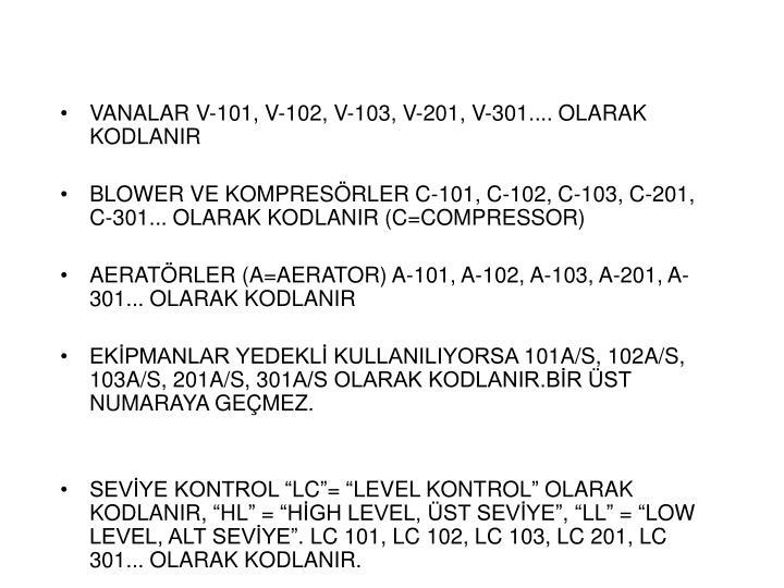 VANALAR V-101, V-102, V-103, V-201, V-301.... OLARAK KODLANIR