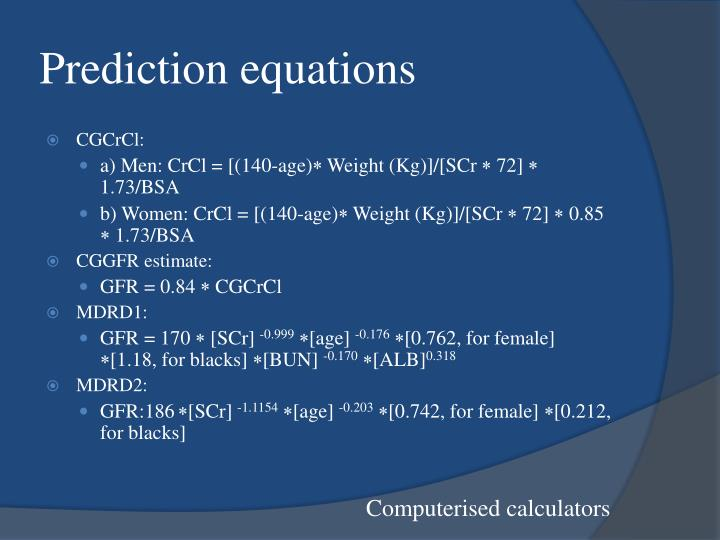 Prediction equations