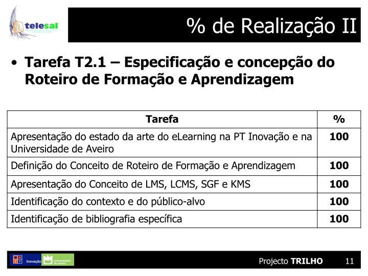 % de Realização II