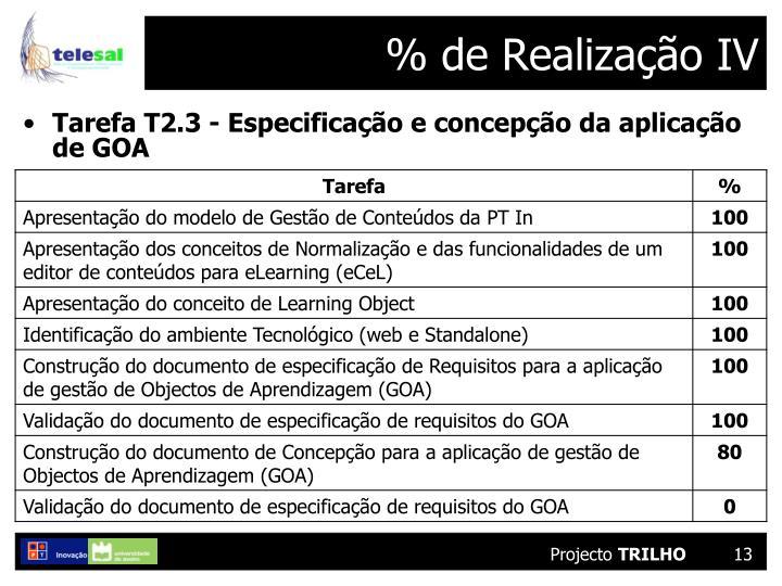% de Realização IV